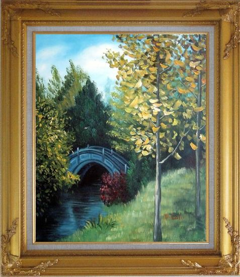 Framed River Bridge under Aspen Trees Oil Painting Garden Impressionism Gold Wood Frame with Deco Corners 31 x 27 Inches