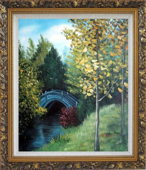 Framed River Bridge under Aspen Trees Oil Painting Garden Impressionism Ornate Antique Dark Gold Wood Frame 30 x 26 Inches