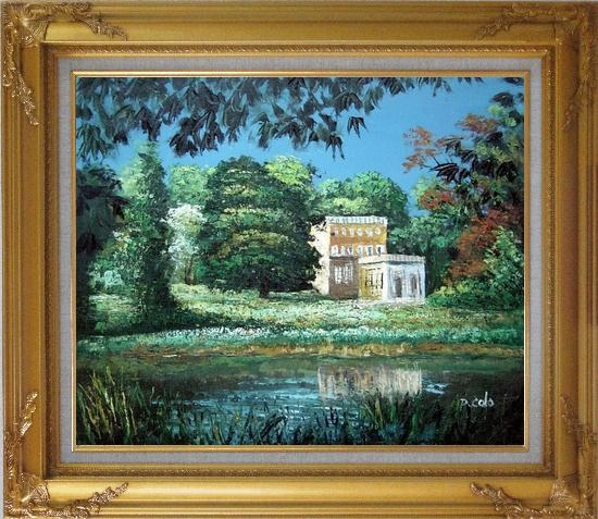 Framed Garden Inspiration Oil Painting Impressionism Gold Wood Frame with Deco Corners 27 x 31 Inches