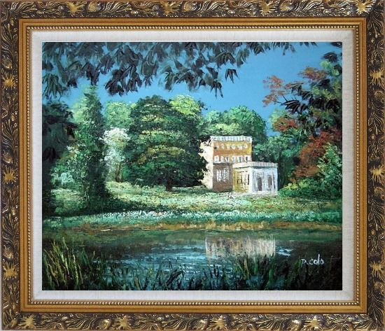 Framed Garden Inspiration Oil Painting Impressionism Ornate Antique Dark Gold Wood Frame 26 x 30 Inches