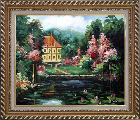 Framed Romantic Shadows Oil Painting Garden Impressionism Exquisite Gold Wood Frame 26 x 30 Inches