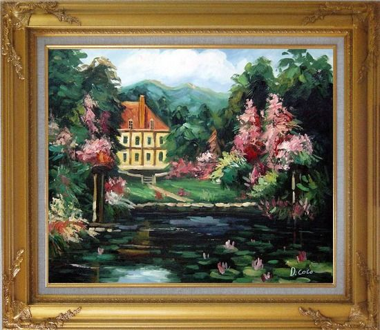 Framed Romantic Shadows Oil Painting Garden Impressionism Gold Wood Frame with Deco Corners 27 x 31 Inches