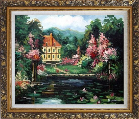 Framed Romantic Shadows Oil Painting Garden Impressionism Ornate Antique Dark Gold Wood Frame 26 x 30 Inches