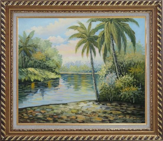 Framed Palm Trees, River, Tropical Scenery Oil Painting Landscape Impressionism Exquisite Gold Wood Frame 26 x 30 Inches