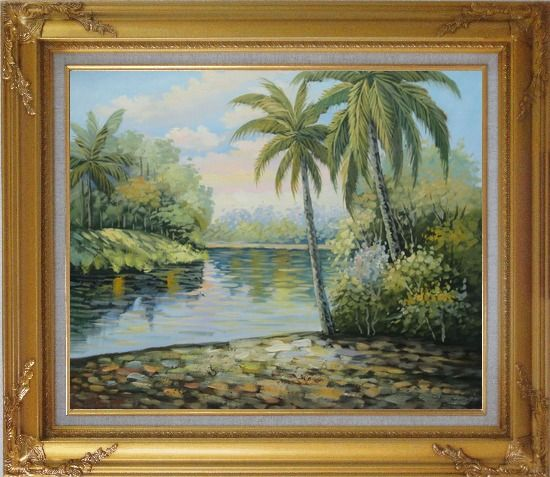 Framed Palm Trees, River, Tropical Scenery Oil Painting Landscape Impressionism Gold Wood Frame with Deco Corners 27 x 31 Inches
