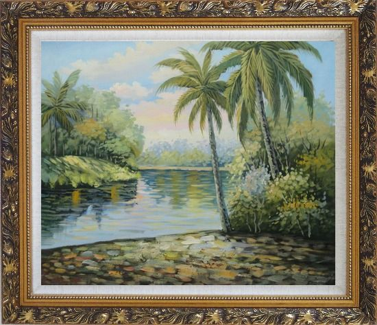 Framed Palm Trees, River, Tropical Scenery Oil Painting Landscape Impressionism Ornate Antique Dark Gold Wood Frame 26 x 30 Inches