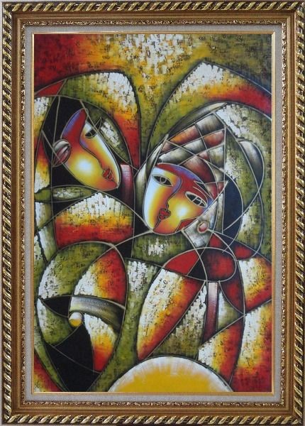 Framed Affectionate Looks, Picasso Reproduction Oil Painting Portraits Couple Modern Cubism Exquisite Gold Wood Frame 42 x 30 Inches