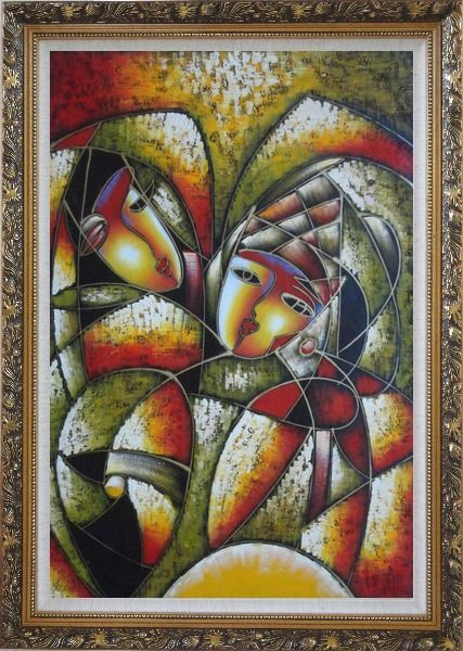 Framed Affectionate Looks, Picasso Reproduction Oil Painting Portraits Couple Modern Cubism Ornate Antique Dark Gold Wood Frame 42 x 30 Inches