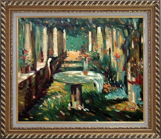 Framed Secret Rendezvous Oil Painting Garden Impressionism Exquisite Gold Wood Frame 26 x 30 Inches
