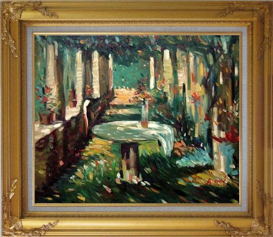 Framed Secret Rendezvous Oil Painting Garden Impressionism Gold Wood Frame with Deco Corners 27 x 31 Inches