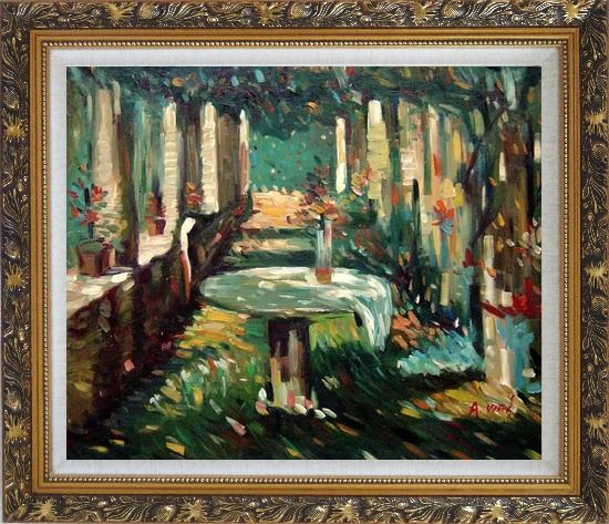 Framed Secret Rendezvous Oil Painting Garden Impressionism Ornate Antique Dark Gold Wood Frame 26 x 30 Inches