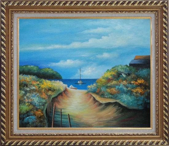 Framed Small Sand Path to Sea Near Beach House Oil Painting Seascape Impressionism Exquisite Gold Wood Frame 26 x 30 Inches