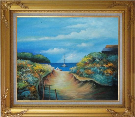 Framed Small Sand Path to Sea Near Beach House Oil Painting Seascape Impressionism Gold Wood Frame with Deco Corners 27 x 31 Inches