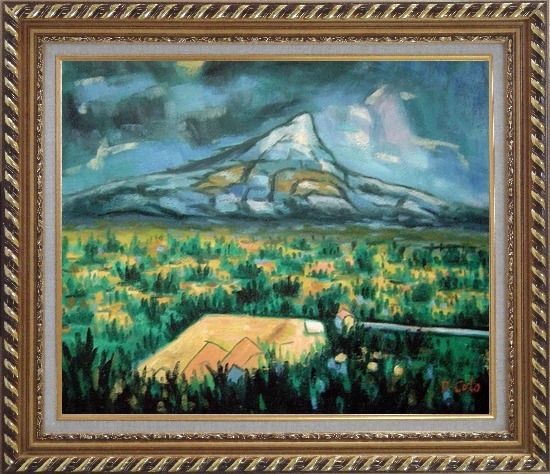Framed Mountainside Tropic Green Plants Oil Painting Landscape Impressionism Exquisite Gold Wood Frame 26 x 30 Inches