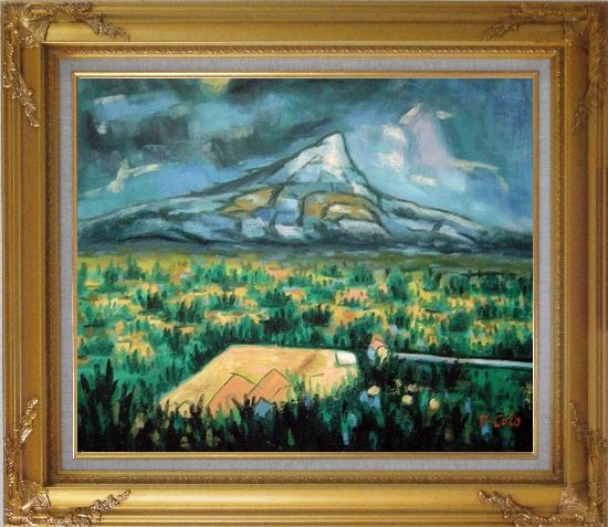 Framed Mountainside Tropic Green Plants Oil Painting Landscape Impressionism Gold Wood Frame with Deco Corners 27 x 31 Inches