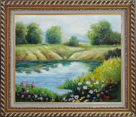 Framed Beautiful Landscape with Flowers, and Meadow Along Pond Oil Painting River Impressionism Exquisite Gold Wood Frame 26 x 30 Inches