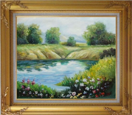 Framed Beautiful Landscape with Flowers, and Meadow Along Pond Oil Painting River Impressionism Gold Wood Frame with Deco Corners 27 x 31 Inches