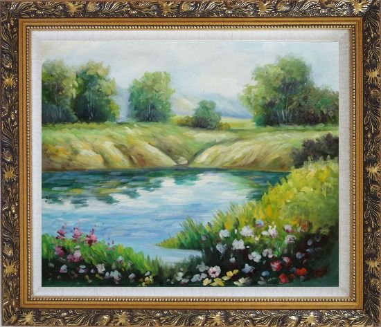Framed Beautiful Landscape with Flowers, and Meadow Along Pond Oil Painting River Impressionism Ornate Antique Dark Gold Wood Frame 26 x 30 Inches