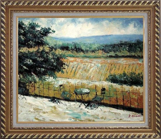Framed Lovely Rural Retreat Oil Painting Landscape Impressionism Exquisite Gold Wood Frame 26 x 30 Inches