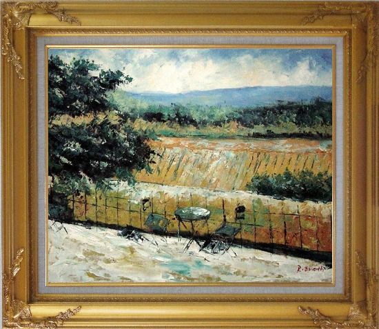 Framed Lovely Rural Retreat Oil Painting Landscape Impressionism Gold Wood Frame with Deco Corners 27 x 31 Inches