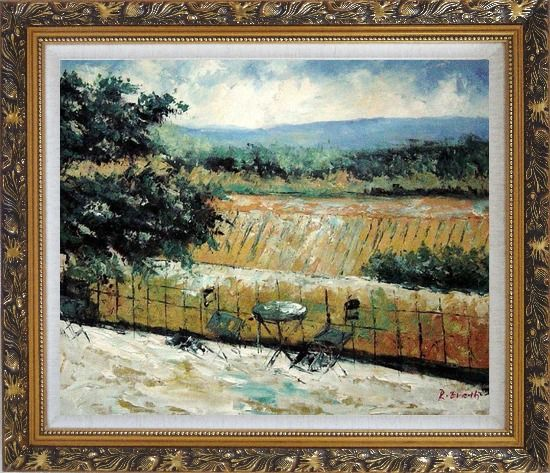 Framed Lovely Rural Retreat Oil Painting Landscape Impressionism Ornate Antique Dark Gold Wood Frame 26 x 30 Inches