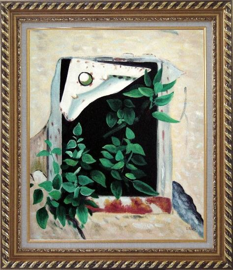 Framed Open Window and Green Leaves Oil Painting Flower Naturalism Exquisite Gold Wood Frame 30 x 26 Inches