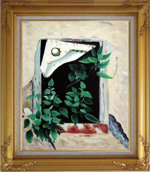 Framed Open Window and Green Leaves Oil Painting Flower Naturalism Gold Wood Frame with Deco Corners 31 x 27 Inches
