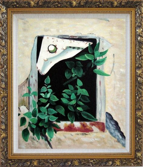 Framed Open Window and Green Leaves Oil Painting Flower Naturalism Ornate Antique Dark Gold Wood Frame 30 x 26 Inches