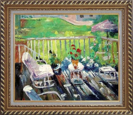 Framed Afternoon Sunshine Oil Painting Garden Impressionism Exquisite Gold Wood Frame 26 x 30 Inches