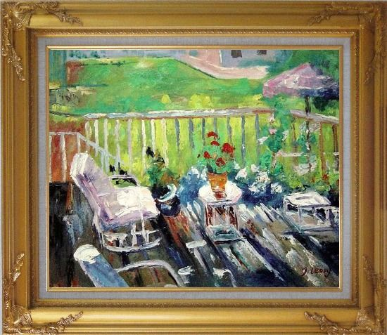Framed Afternoon Sunshine Oil Painting Garden Impressionism Gold Wood Frame with Deco Corners 27 x 31 Inches