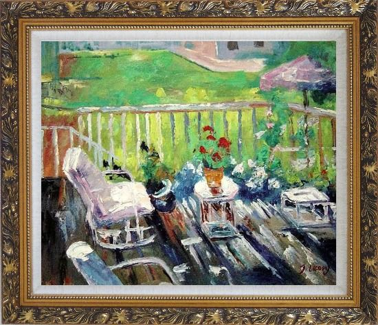 Framed Afternoon Sunshine Oil Painting Garden Impressionism Ornate Antique Dark Gold Wood Frame 26 x 30 Inches