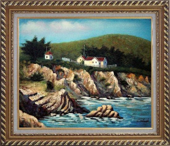 Framed Cottages by the Sea Oil Painting Seascape France Impressionism Exquisite Gold Wood Frame 26 x 30 Inches