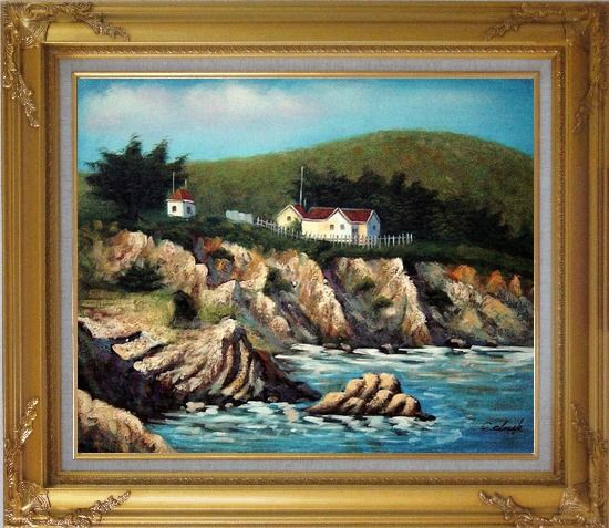 Framed Cottages by the Sea Oil Painting Seascape France Impressionism Gold Wood Frame with Deco Corners 27 x 31 Inches