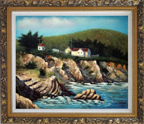 Framed Cottages by the Sea Oil Painting Seascape France Impressionism Ornate Antique Dark Gold Wood Frame 26 x 30 Inches