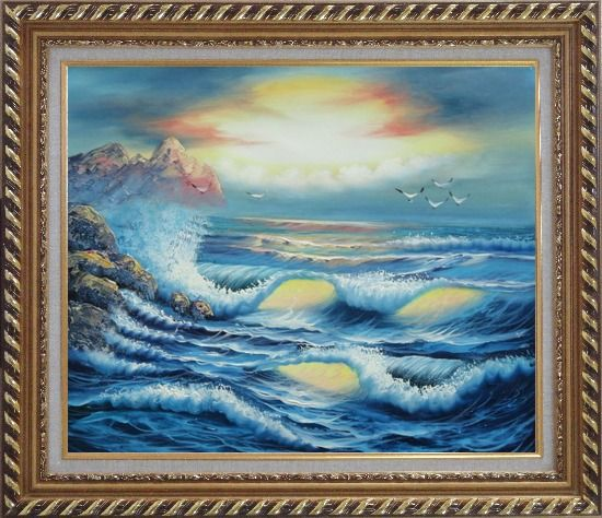 Framed Flying Birds, Azores Sea Waves Hitting rocks Oil Painting Seascape Naturalism Exquisite Gold Wood Frame 26 x 30 Inches