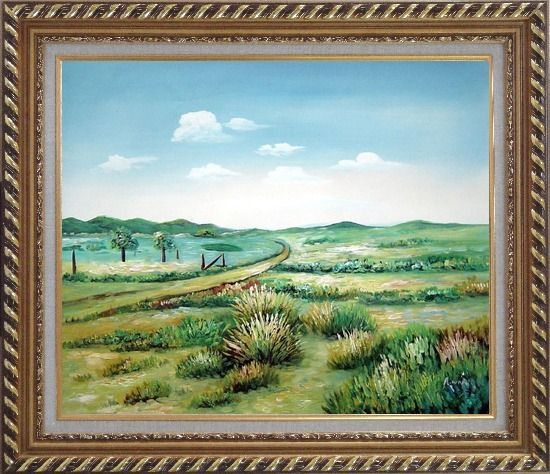 Framed Broadly Country Road Oil Painting Landscape Naturalism Exquisite Gold Wood Frame 26 x 30 Inches