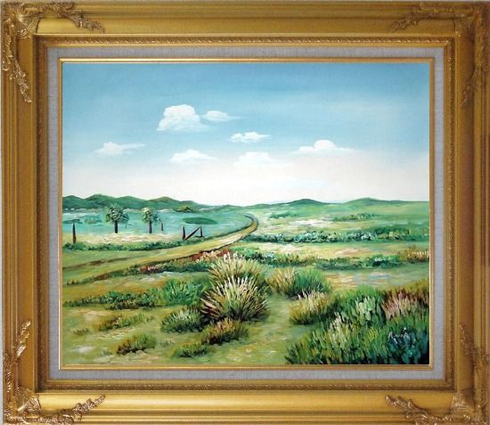 Framed Broadly Country Road Oil Painting Landscape Naturalism Gold Wood Frame with Deco Corners 27 x 31 Inches