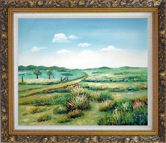 Framed Broadly Country Road Oil Painting Landscape Naturalism Ornate Antique Dark Gold Wood Frame 26 x 30 Inches