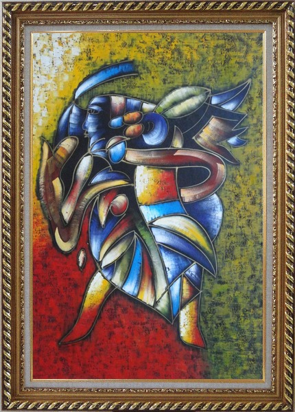 Framed Conch Blower, Picasso Reproduction Oil Painting Portraits Modern Cubism Exquisite Gold Wood Frame 42 x 30 Inches