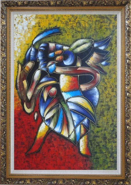 Framed Conch Blower, Picasso Reproduction Oil Painting Portraits Modern Cubism Ornate Antique Dark Gold Wood Frame 42 x 30 Inches