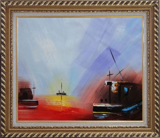 Framed Boats On Quiet Water at Sunset Oil Painting Modern Exquisite Gold Wood Frame 26 x 30 Inches