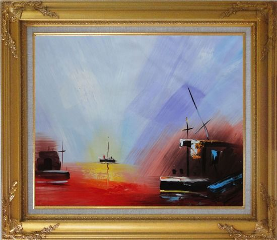 Framed Boats On Quiet Water at Sunset Oil Painting Modern Gold Wood Frame with Deco Corners 27 x 31 Inches