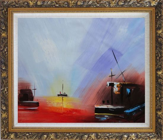 Framed Boats On Quiet Water at Sunset Oil Painting Modern Ornate Antique Dark Gold Wood Frame 26 x 30 Inches