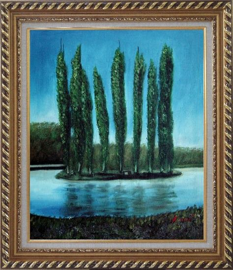Framed Tall Trees in center of Water Oil Painting Landscape River Naturalism Exquisite Gold Wood Frame 30 x 26 Inches