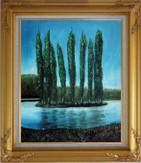 Framed Tall Trees in center of Water Oil Painting Landscape River Naturalism Gold Wood Frame with Deco Corners 31 x 27 Inches