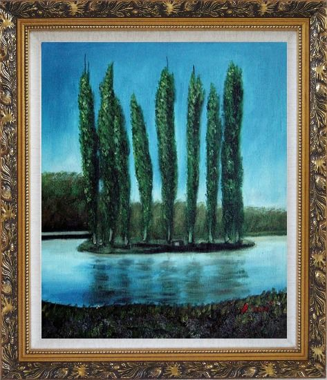 Framed Tall Trees in center of Water Oil Painting Landscape River Naturalism Ornate Antique Dark Gold Wood Frame 30 x 26 Inches