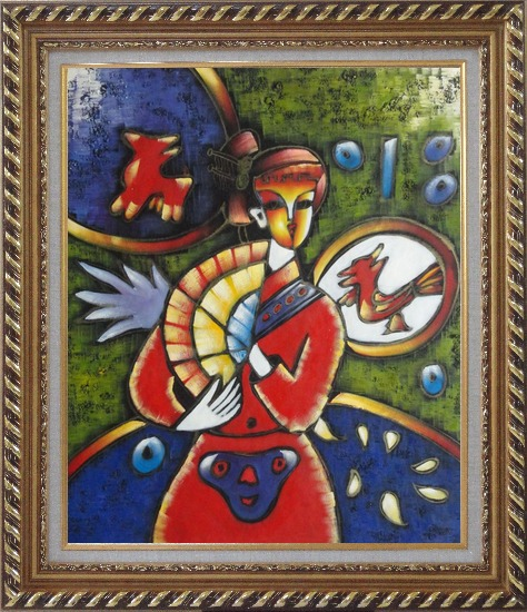 Framed Girl In Red Dress, Picasso Reproduction Oil Painting Portraits Woman Modern Cubism Exquisite Gold Wood Frame 30 x 26 Inches