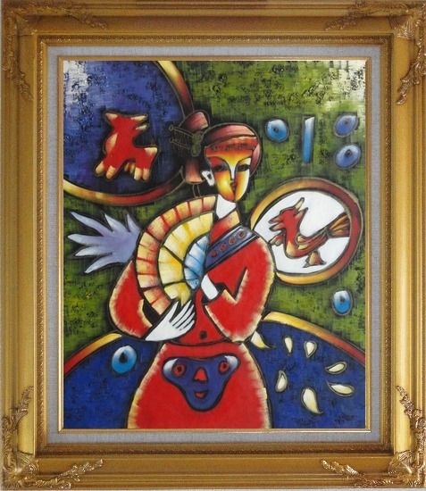 Framed Girl In Red Dress, Picasso Reproduction Oil Painting Portraits Woman Modern Cubism Gold Wood Frame with Deco Corners 31 x 27 Inches