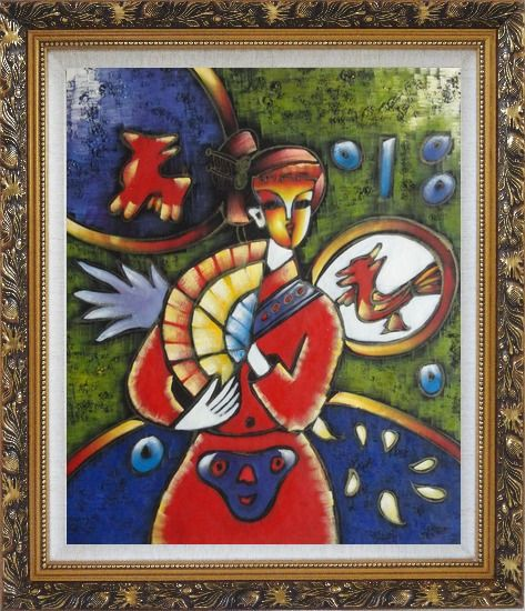 Framed Girl In Red Dress, Picasso Reproduction Oil Painting Portraits Woman Modern Cubism Ornate Antique Dark Gold Wood Frame 30 x 26 Inches
