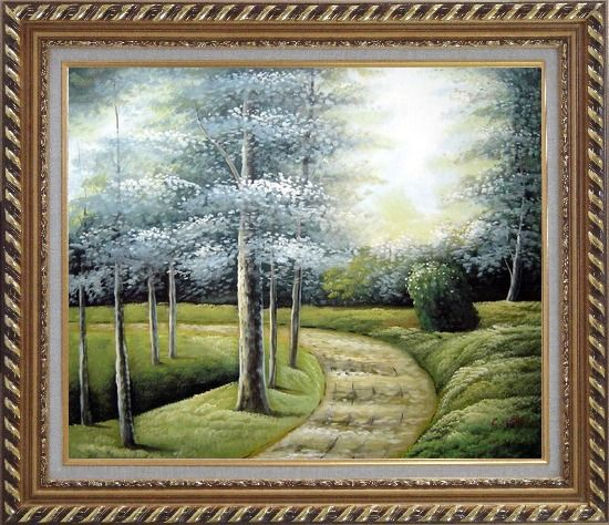 Framed Woodland Walk Oil Painting Landscape Tree Naturalism Exquisite Gold Wood Frame 26 x 30 Inches